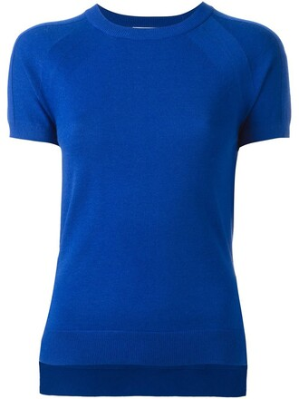 t-shirt shirt women cotton blue top