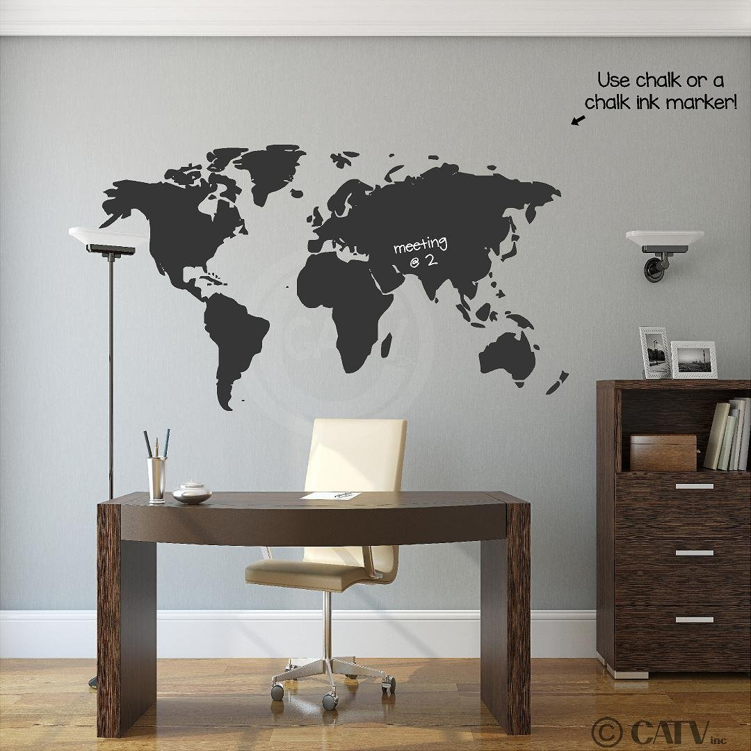 Amazon chalkboard world map vinyl wall decal wall decor stickers gumiabroncs Images