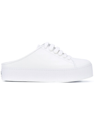 women mules leather white cotton shoes