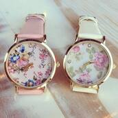 sweater,roses,jewels,pink,watch,flowers,vintage,white,spring,gold,belt,clock,klocka,rosa & vit,pink & white,pattern,beaautiful,floral,floral watch,arm,girl,girly,chic,sweet,floweral,hippie,sytlish,floweral print,watch colors,flower crown,blue,cute,hair accessory
