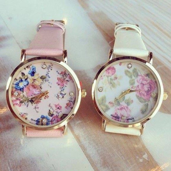 jewels floral clock klocka rosa & vit pink & white pattern beaautiful sweater pink, floral, cute watch pink white spring gold Belt