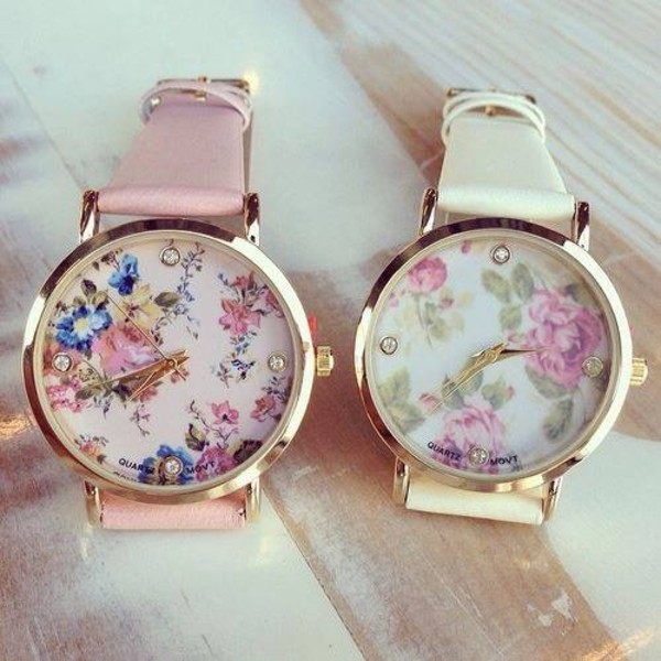 sweater roses jewels pink watch watch flowers vintage white spring gold belt clock klocka rosa & vit pink & white pattern beaautiful floral floral watch flowers arm girl girly chic sweet floweral hippie sytlish floweral print watch colors flower crown blue cute hair accessory