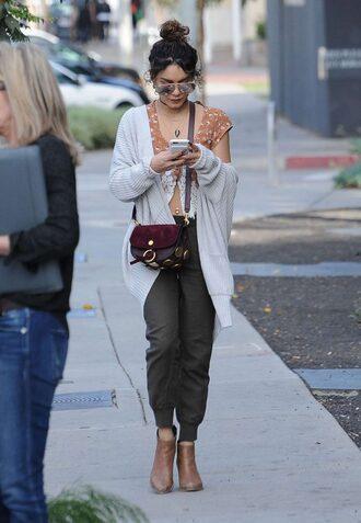 cardigan crop tops blouse top pants ankle boots streetstyle vanessa hudgens