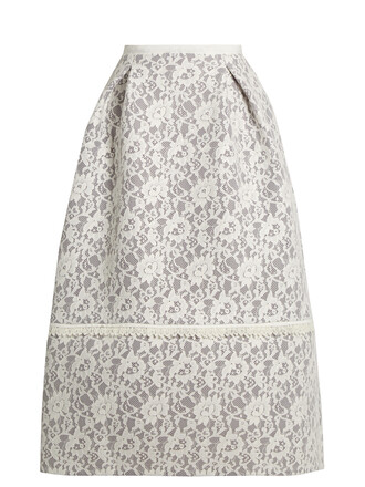 skirt lace skirt lace floral white grey