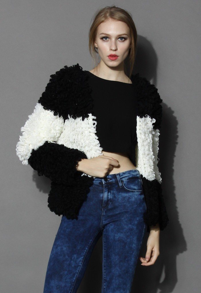 Fascinating Black and White Shaggy Coat - Retro, Indie and Unique Fashion