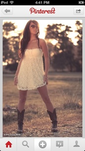 dress,sundress,country style,cowboy boots