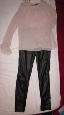 Pantalon cuir slim cigarette noir zara taille m 38 40