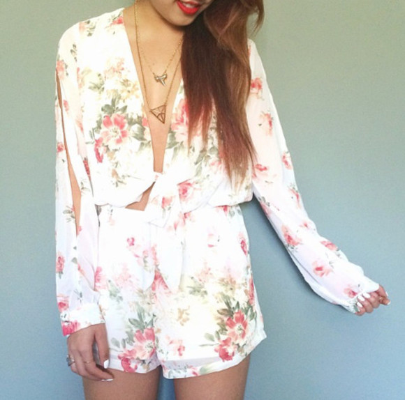 jumpsuit dress playsuit floral spring jewels