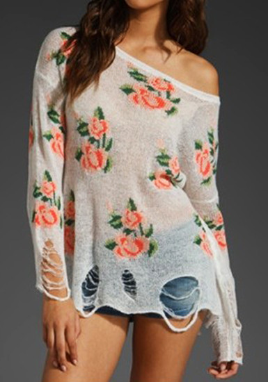 Floral Frayed Cuffs Top