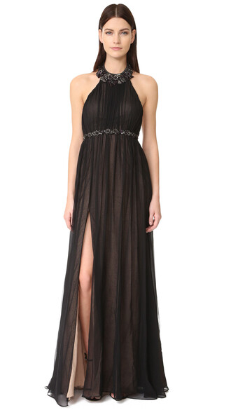 gown chiffon black dress
