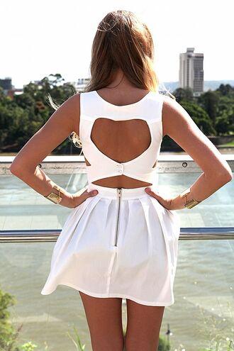dress ustrendy dress ustrendy white dress heart back dress heart on the back heart back skater dress