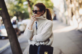 the next episode blogger sweater pants sunglasses shoes turtleneck sweater knitted sweater oversized sweater