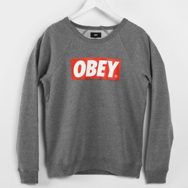 sweater, grey, obey - Wheretoget