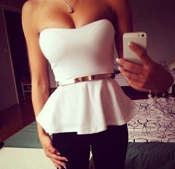 mirror top white top Belt must have