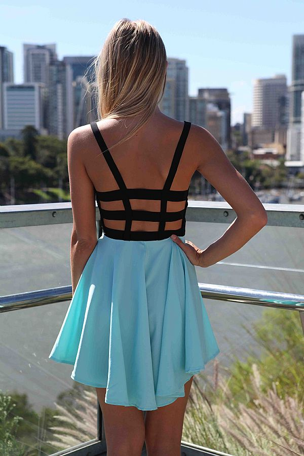 Blue and black mini dress