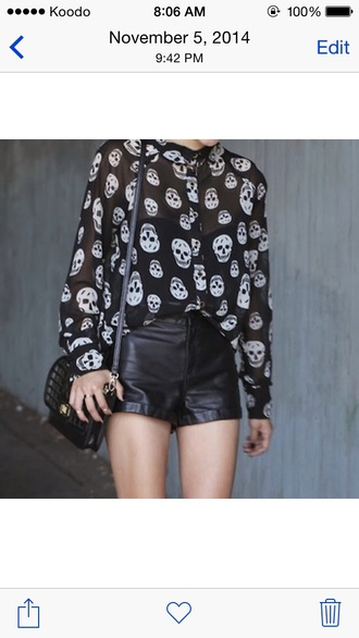 top black transparent top black top black blouse leather shorts black shorts skull