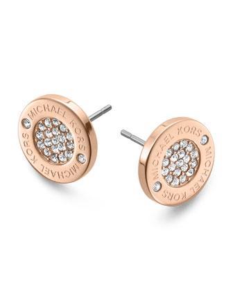 Michael Kors Logo Pave Stud Earrings, Rose Golden - Michael Kors