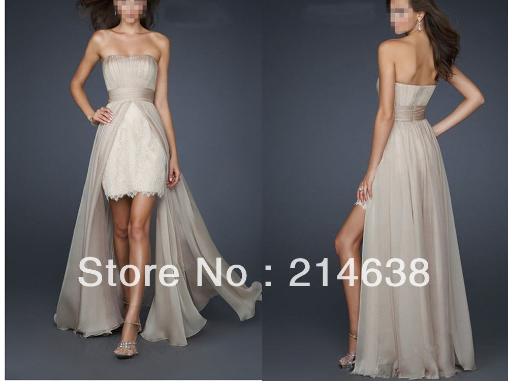 2013 New Sexy Sheath Short Mini Chiffon Hi Lo Evening Dress With Attached Train Custom Made-in Evening Dresses from Apparel & Accessories on Aliexpress.com