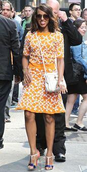 skirt,top,kerry washington,sandals,orange,two-piece