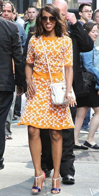 skirt top kerry washington sandals orange two-piece