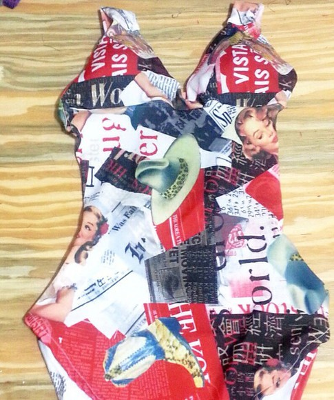 marilyn monroe fashion sexy swimwear top custom made bodysuit newsprint newspaper vogue