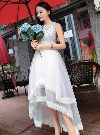 dress white high low dress