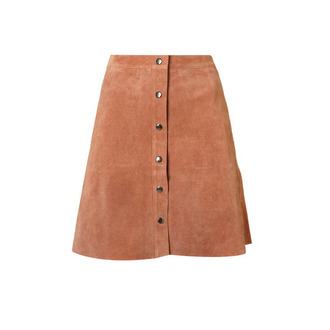 skirt topshop brown brown skirt suede ballet flats suede skirt camel suede