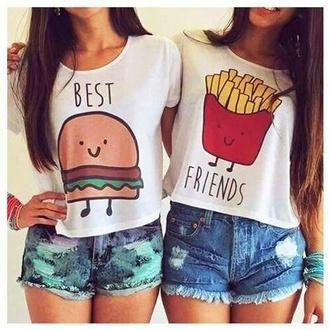 shirt hamburger best friend shirts burger and fries top