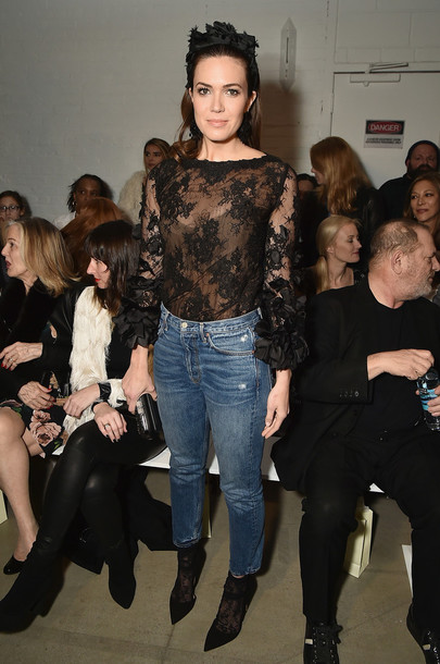 blouse top lace top jeans nyfw 2017 fashion week 2017 mandy moore