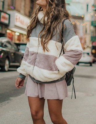 coat girly fur fur coat fur jacket zip pink faux fur faux fur jacket faux fur coat