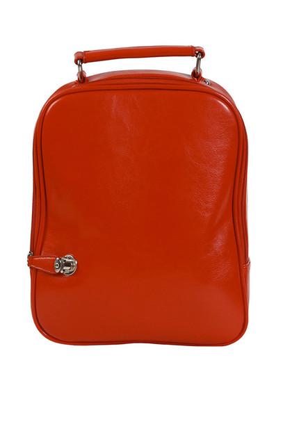 Bag: orange, leather, backpack - Wheretoget