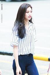 blouse,doyeon,short sleeve shirt,pinstripe blouse