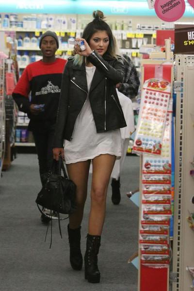 Leather zipper jacket motorcycle coat kylie jenner kardashian blogger