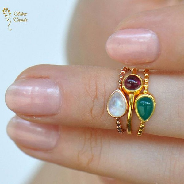 jewels silver trendz green onyx red garnet gold vermiel stackable mini midi ring