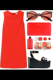 dress,red dress,sunglasses,sandals,leather,red,fashion,style,indie,shoes