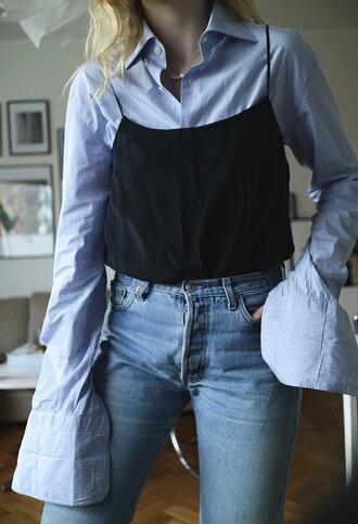 top slip top tumblr black top spaghetti strap shirt blue shirt denim jeans blue jeans