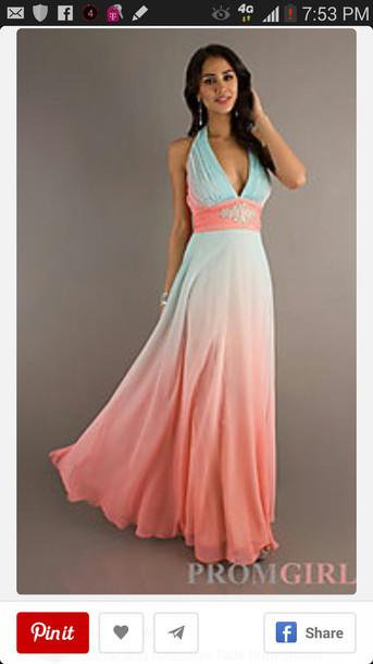 Prom Dress Wedding Bridesmaid Formal Summer Ombre Beach Coral Aqua