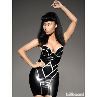 tight boobs magazine curvy black and white nicki minaj billboard dress