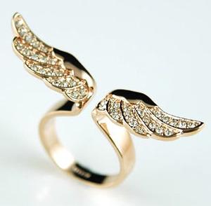 Angel wing ring use swarovski crystal uk size o / us size 7 #xr067