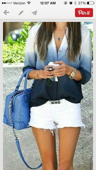 navy blue blouse ombre