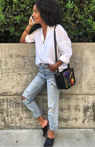blouse jeans denim instagram yara shahidi
