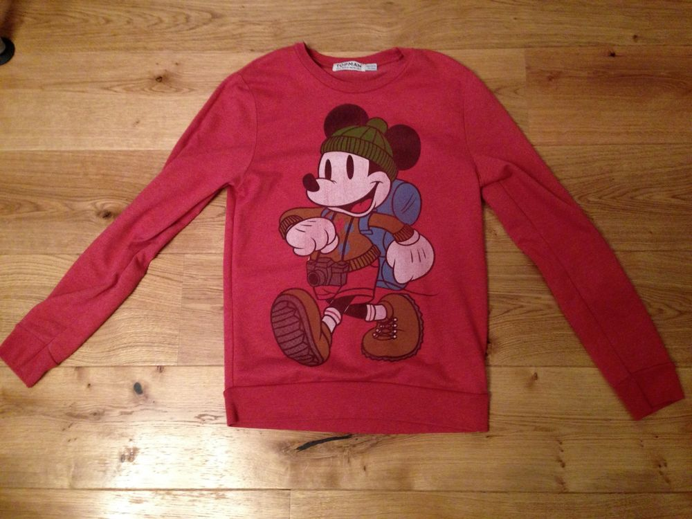 mens red topman mickey mouse jumper size small great condition | eBay