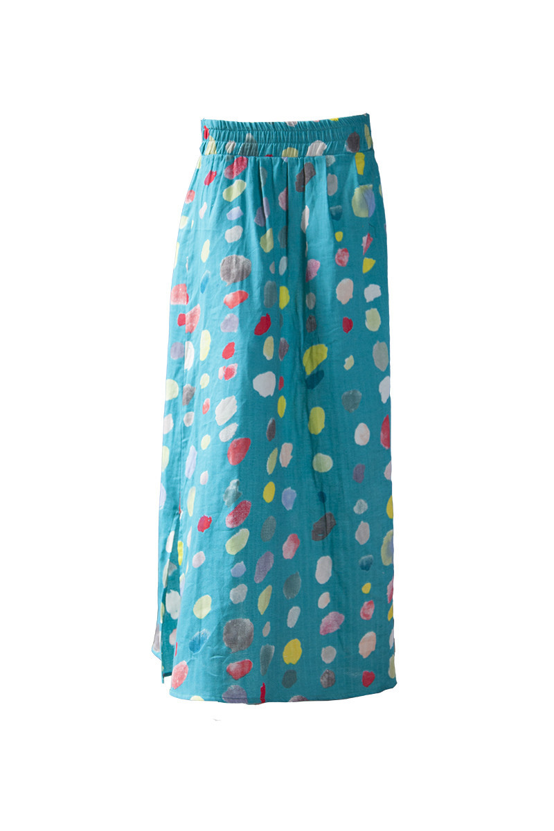 Summer maxi skirt made in Nani Iro double gauze cotton coloured pocho fabric.