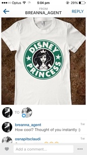 t-shirt,disney,starbucks coffee,white tee,white t-shirt,disney princess,princess,shirt