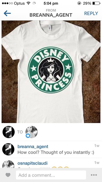 t-shirt white tee white t-shirt disney aries starbucks disney princess princess