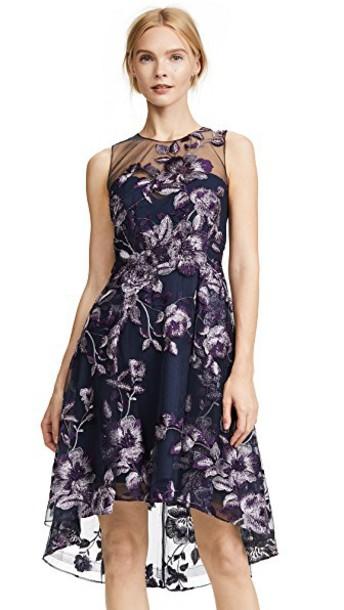Marchesa Notte dress cocktail dress sleeveless embroidered purple