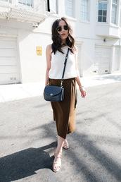 skirt,tumblr,midi skirt,green skirt,sweater,white sweater,sandals,mid heel sandals,bag,sleeveless,sleeveless top,sunglasses,top