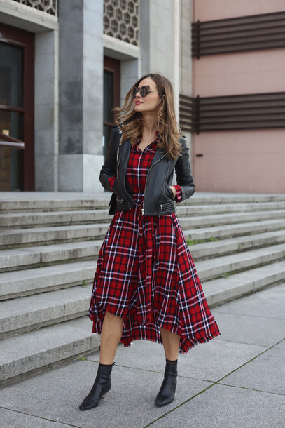 dress tartan tumblr midi dress tartan dress plaid dress plaid high low dress boots black boots ankle boots jacket black jacket leather jacket black leather jacket sunglasses cat eye spring outfits