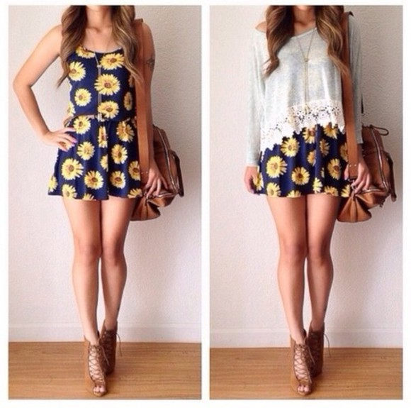 dress white top sweater lace cute daisy, dress, navy, yellow, white, blue, pretty, spring, cute, daisy dress blouse bag shoes sunflower a line dress blue dress sunflowers jumpsuit skirt floral sundress daisies yellow black short dress floral short daisy dress flowers print flower dress