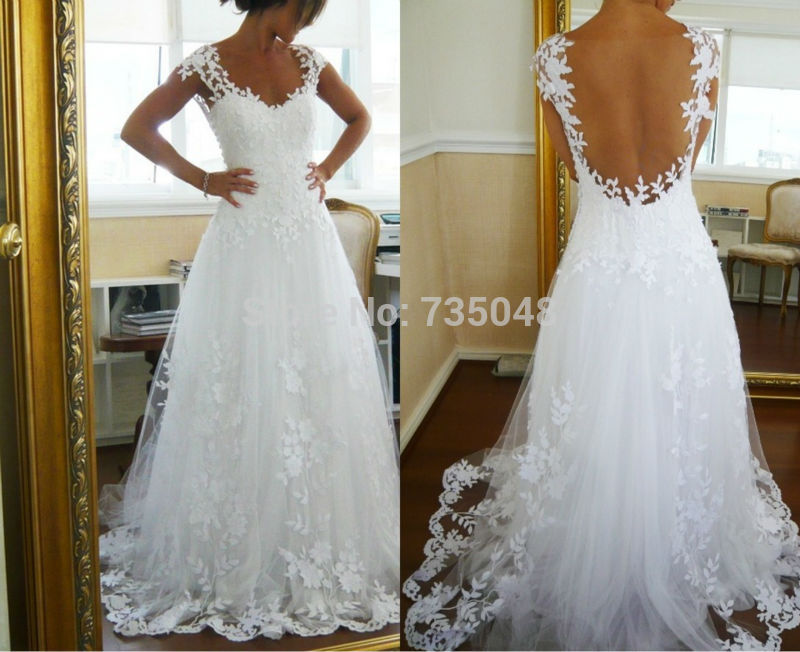Aliexpress.com : buy vestido de noite 2014 new arrival cap sleeve backless white lace a line long wedding dress bridal gown from reliable gown prom dress suppliers on only love bridals